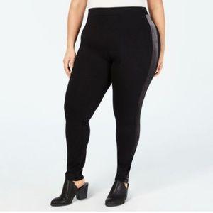 Style & Co Black Legging Velvet Stripe Plus Sz 18W